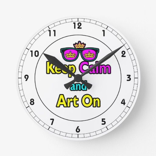 Parody Hipster Crown Sunglasses Keep Calm And Art Round Clock