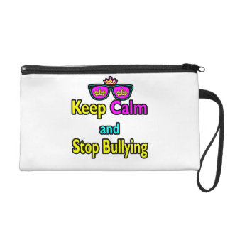 Parody Hipster  Keep Calm And Stop Bullying Wristlet