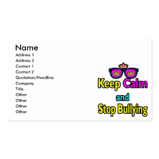 Parody Hipster  Keep Calm And Stop Bullying Business Card