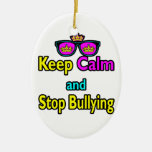 Parody Hipster  Keep Calm And Stop Bullying Christmas Tree Ornament