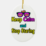 Parody Hipster Keep Calm And Stop Staring Ornament