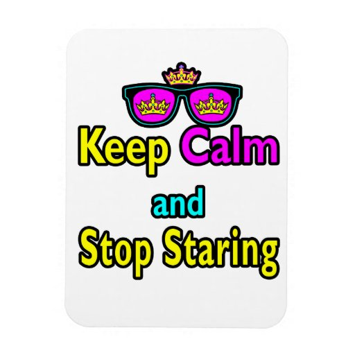 Parody Hipster Keep Calm And Stop Staring Rectangular Photo Magnet