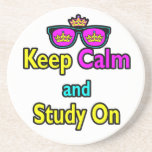 Parody Hipster Keep Calm And Study On Drink Coaster