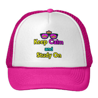 Parody Hipster Keep Calm And Study On Hat