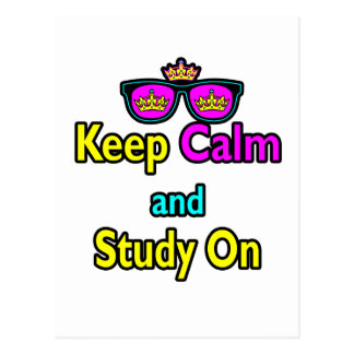Parody Hipster Keep Calm And Study On Postcard