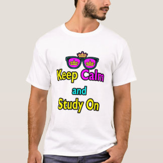 Parody Hipster Keep Calm And Study On T-Shirt