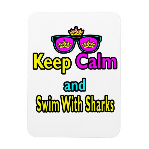 Parody Hipster  Keep Calm And Swim With Sharks Rectangular Photo Magnet