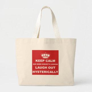 Parody keep calm and carry on canvas bag