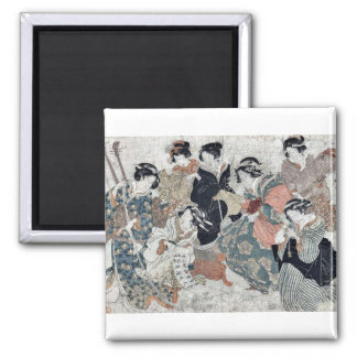 Parody of the sages of the bamboo by Kubo,Shunman Refrigerator Magnet