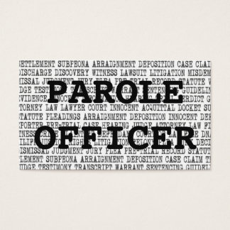 Parole Officer Legal Words Business Card