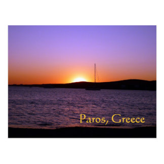 Paros Island Greece Sunset Sail Postcard