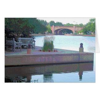 """Parque centenario """"bancos de los lagos y puente"""" tarjeta de felicitación"""