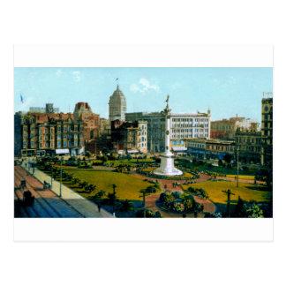 Parque cuadrado de la unión del poste y de las cal tarjeta postal
