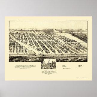 Parque de Asbury, mapa panorámico de NJ - 1897 Póster
