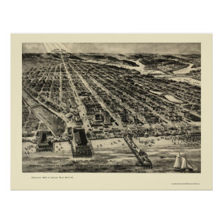 Parque de Asbury, mapa panorámico de NJ - 1910 Posters