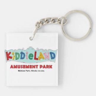 Parque de atracciones de Kiddieland del parque de Llavero Cuadrado Acrílico A Doble Cara