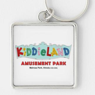 Parque de atracciones de Kiddieland del parque de Llavero Cuadrado Plateado