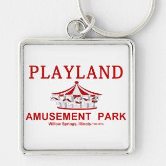 Parque de atracciones de Playland, Willow Springs, Llavero Cuadrado Plateado