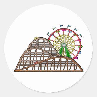 Parque de atracciones pegatina redonda