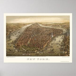 Parque de batería mapa panorámico de NY - 1873 Poster