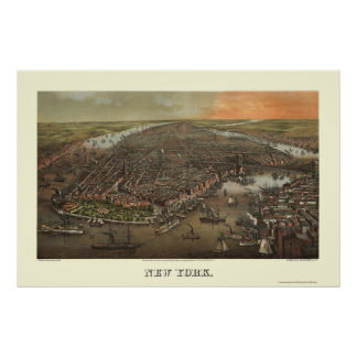 Parque de batería, mapa panorámico de NY - 1873 Posters