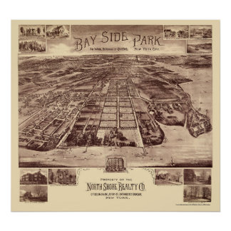 Parque de Bayside - Queens, mapa panorámico de NY  Posters