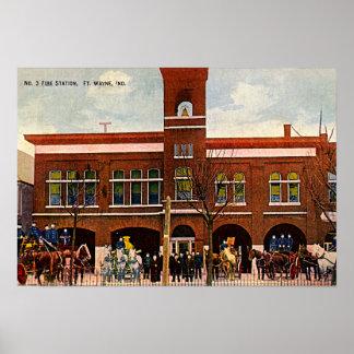 Parque de bomberos 3 1915 de fuerte Wayne, Indiana Póster