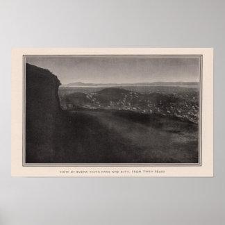 Parque de Buena Vista, ciudad, de picos gemelos Poster