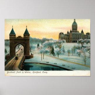 Parque de Bushnell en el invierno, vintage de Hart Póster