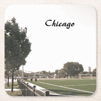 Parque de Chicago en tonos de la sepia Posavasos De Cartón Cuadrado