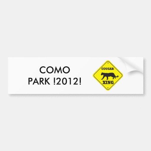 ¡PARQUE DE COMO! ¡2012! ETIQUETA DE PARACHOQUE