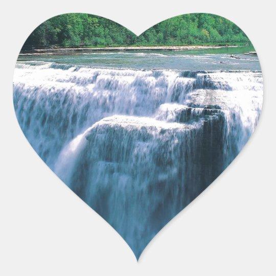 Parque de estado de Letchworth del agua Nueva York Pegatina En Forma De Corazón