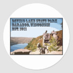 Parque de estado del lago devil's etiqueta redonda