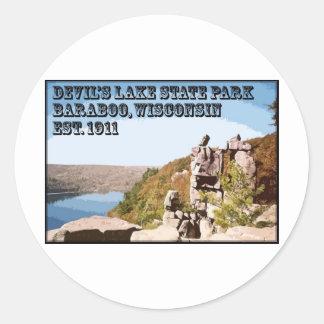 Parque de estado del lago devil's pegatina redonda