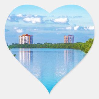 Parque de estado dominante de la playa de los aman calcomanía corazón