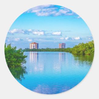 Parque de estado dominante de la playa de los aman pegatinas redondas