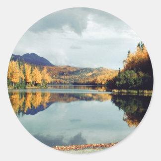 Parque de estado largo del lago etiquetas redondas