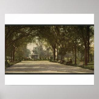 Parque de Forsyth, sabana, Georgia circa 1901 Póster