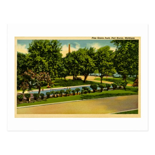 Parque de la arboleda del pino, puerto Huron, Mich Postal