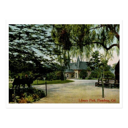 Parque de la biblioteca, Pasadena, vintage de CA Tarjeta Postal