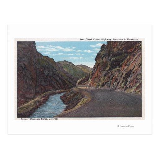Parque de la montaña de Denver, CO - barranco de Tarjeta Postal