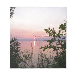Parque de la playa de la puesta del sol bloc de notas