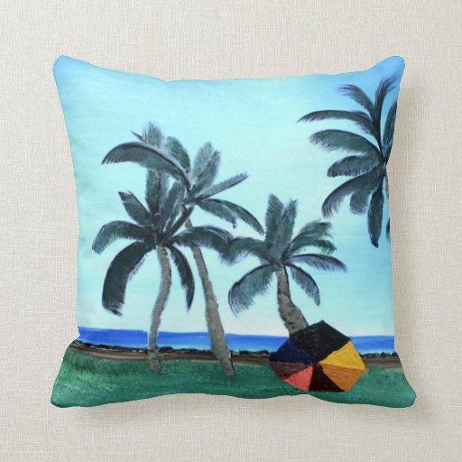 Parque de la playa y almohada hawaianos de las pal