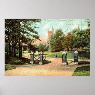 Parque de la universidad, vintage 1907 de Toronto  Poster