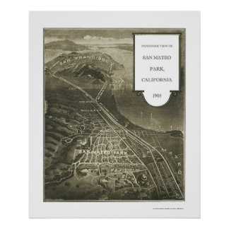 Parque de San Mateo, mapa panorámico de CA - 1905 Poster