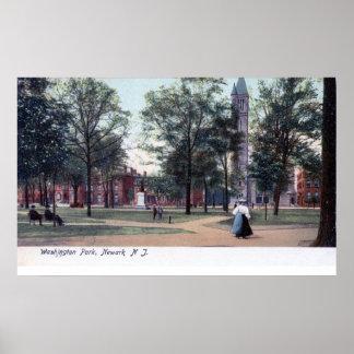 Parque de Washington, vintage 1906 de Newark NJ Póster