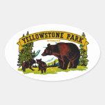 Parque de Yellowstone Calcomanía De Óval Personalizadas