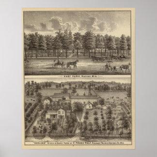 Parque del este, Racine y granja de Oakland Póster