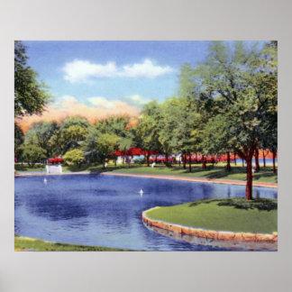 Parque del frente del lago lagoon de Evanston Illi Poster
