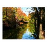 Parque del otoño con el puente postal